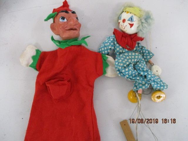 Pelhum puppets x 2, comprising of a clown and punch from punch and Judy.  image