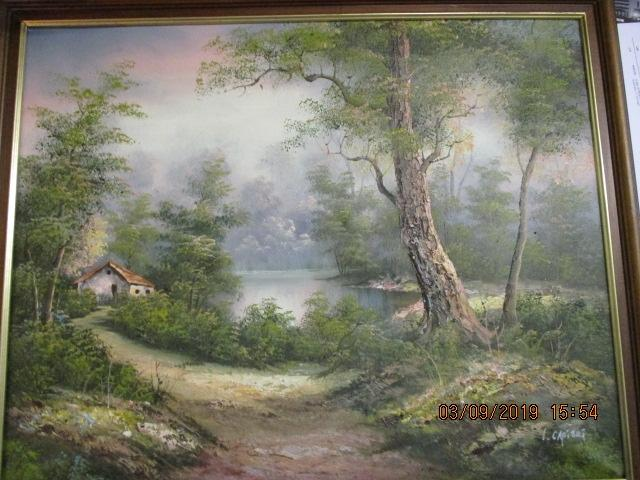 Oil on canvas painting, depicting cottage in the woods signed, I Cafiert  image