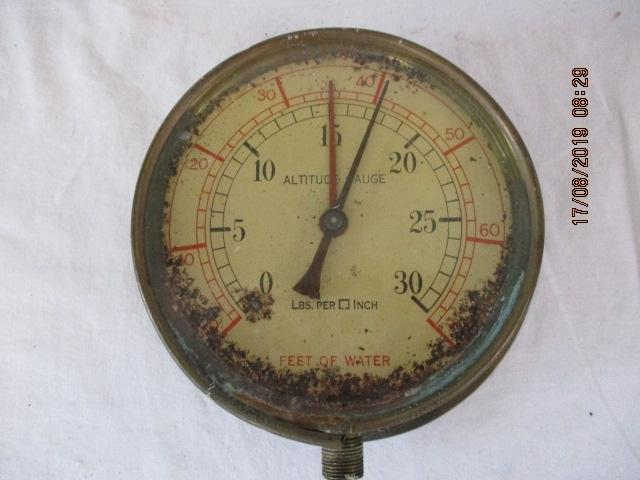 Submarine brass and glass Altitude Gauge LBS per inch Feet of Water some wear  image