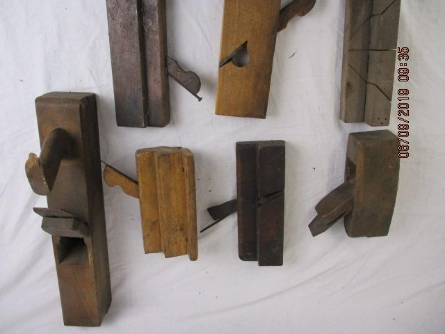 Collection of seven woodworking planes from the early part of the 20th century to include some skirting planes  image