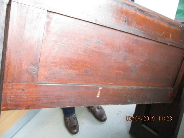 A Victorian 1860's Free church Pew 107 cm x 90 cm with brass fittings made from oak  image