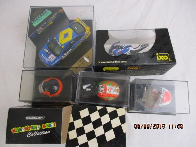 Ixo , Vitesse and Minichamps car , motorcycle and helmets boxed  image