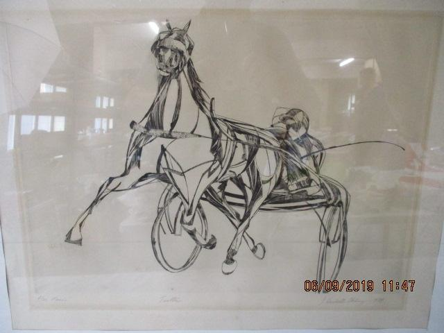 Large drawing of A Trotting race horse with trap and jockey byHackell Chluey 1974  image