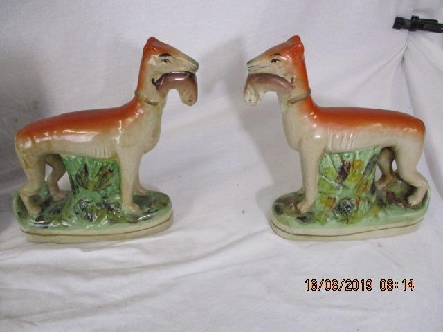 A pair of Staffordshire greyhound whippet ornaments  image