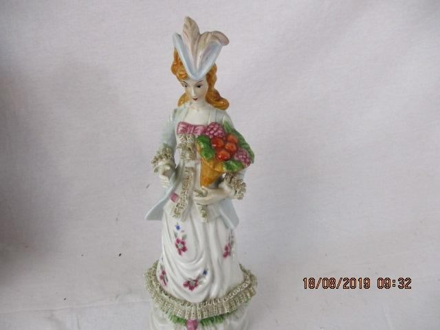 Staffordshire lady carrying flowers 32 cm tall  image