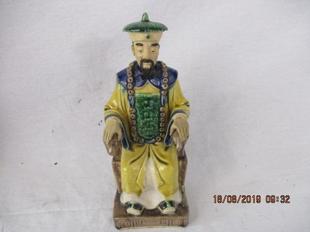 Chinese Emperor on throne Staffordshire style figure 23 cm high  image