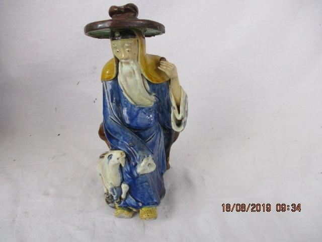 Staffordshire style Chinese goat hearder (missing an hand )  image