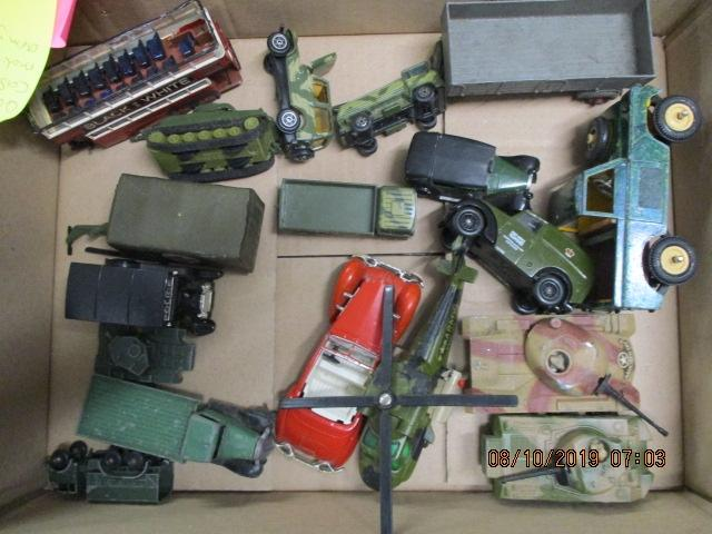 Quantity of die cast vehicles to include Dinky, matchbox, Britains, Army vehicles etc.  image