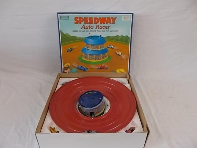 Vintage Schyling tin plate speedway auto racer, classic tin cars race around track as it tilts and twists, boxed.  image