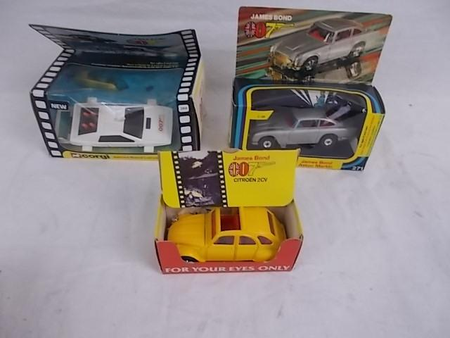 Corgi cars James Bond 007 x 3 Aston Martin 271, boxed, For your eyes only Citroen 2 CV, boxed, Esprit 269, boxed.  image