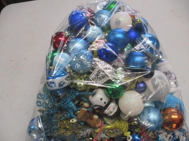 Quantity of Christmas baubles, snowman,snow flakes, blue & white assorted, over 100 in total.  image