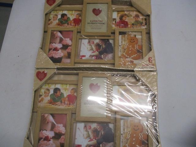 Pair of 3D wooden photo frames, hold 6 photo's each.  image
