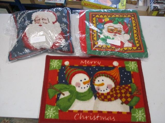 Christmas themed selection, 3 cushion covers, cushion and door mat.  image