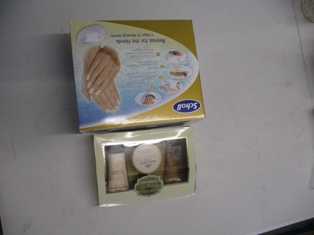Pamper lot to include Scholl retreat for hands, boxed, plus set of royal jelly products, boxed.  image