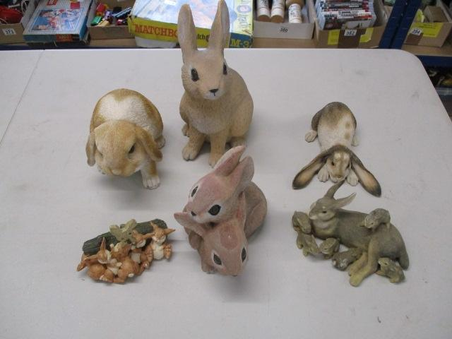 Selection of various sizes rabbit ornaments.  image