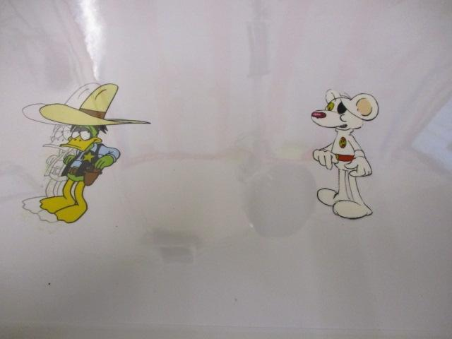 Original pair of hand painted Cosgrove Hall animation of Danger Mouse/Count Duckula cells Danger mouse number D18 and Duckula with under drawing 298/63 D8.(cardboard frame not included)  image