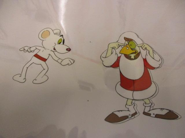 Original pair of hand painted Cosgrove Hall animation of Danger Mouse/Count Duckula cells Danger mouse  D5 plus Doctor von Goosewing 44/164 G10 with under drawing. (cardboard frame not included)  image