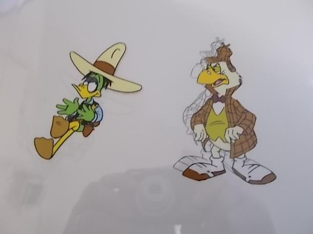 Original pair of hand painted Cosgrove Hall animation of Danger Mouse/Count Duckula cells Duckula 26/199 with under drawing plus Danger mouse D13.(cardboard frame not included)  image