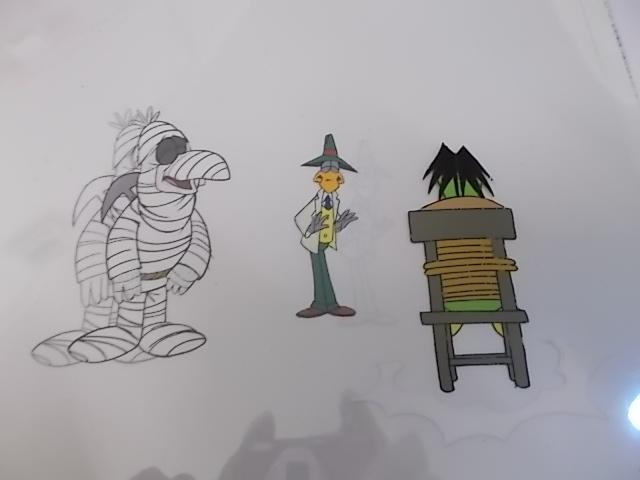 Original trio of hand painted Cosgrove Hall animation of Danger Mouse/Count Duckula cells Doctor von goosewing 57 SC188 R4 with under drawing, Stiletto 28 SC91 a6 with under drawing  plus Duckula 26/199 12.(cardboard frame not included)  image