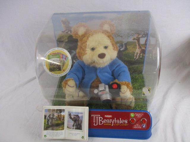 Playskool teddy TJ beary tales in display case. Battery operated, untested.  image
