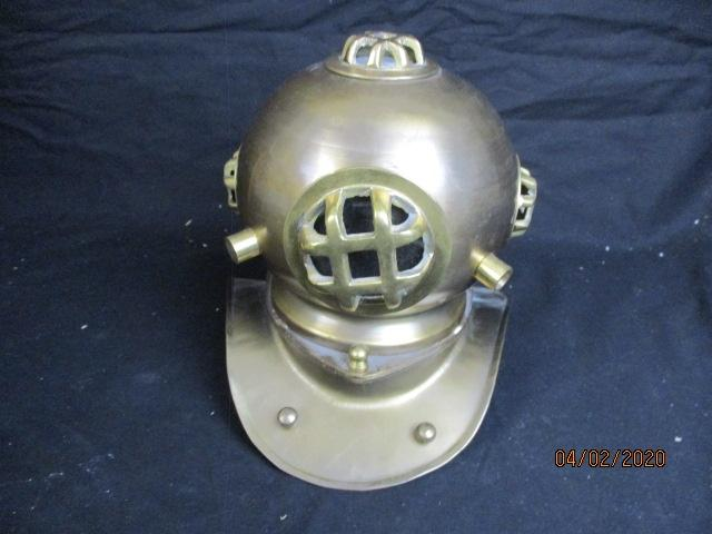 Large brass ornamental diving helmet  image