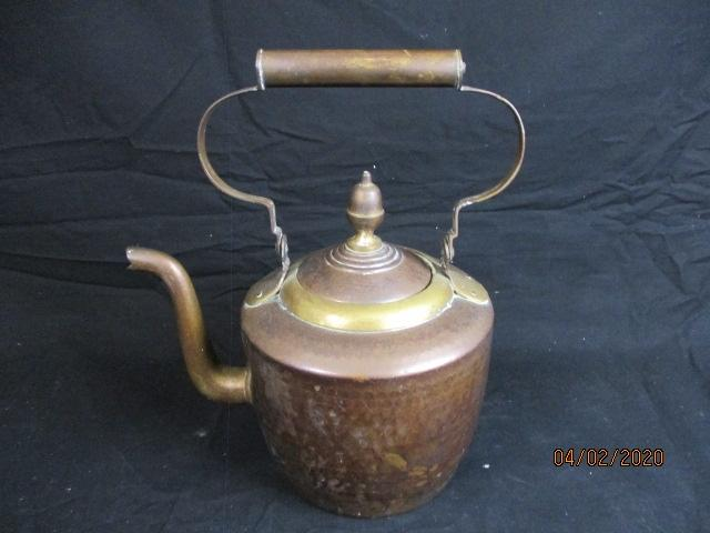 A large vintage copper kettle  image