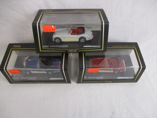 Trio of Vitesse 1:43 die cast miniature cars, 22003,22004,22008 Austin Healey 3000, all cased with outer packaging.  image