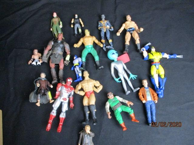 Collection of action figure toys to include superheroes Lord of the rings wrestlers etc  image