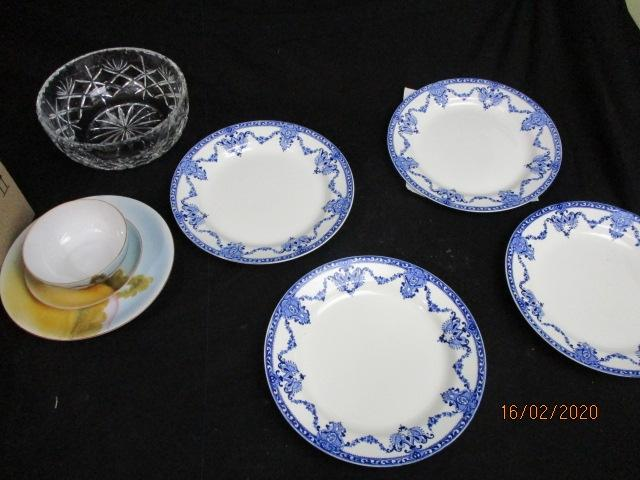 bric a brac bundle to include plates, heavy cut glass bowl etc.  image