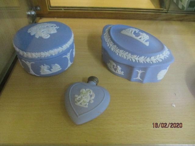 Jasper ware trio to include trinket boxes, plus heart shaped bottle.  image