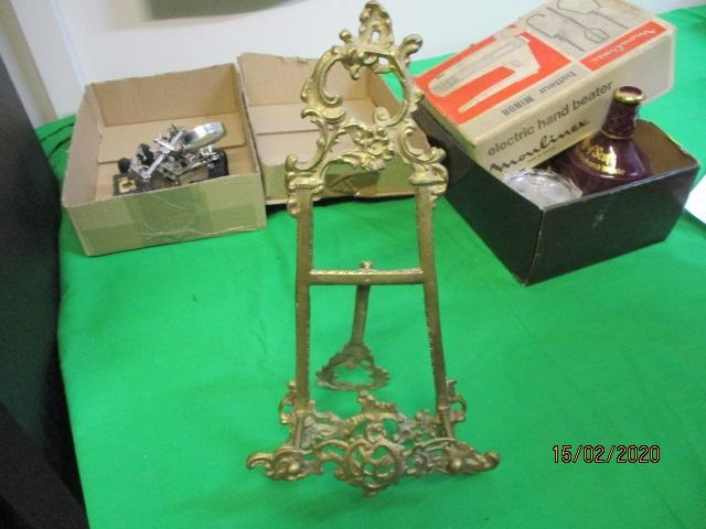 Brass Victorian style picture easel.  image
