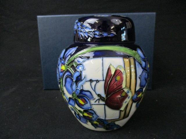 Moorcroft Wisteria Flutter 769/4 ginger jar with lid . 11cm . Good condition boxed  image