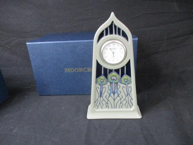 Moorcroft Clock . 25cm tall. Peacock Parade pattern 2012 boxed  image