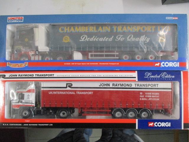A pair of Corgi Toys Limited Edition trucks / lorrys to include :75807 John Raymond Transport and CC13225 Curtainside Corgi 50th anniversary  image