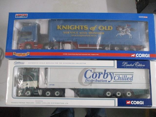 A pair of Corgi Toys Limited Edition trucks / lorrys to include :CC12903 Corby Chilled Distribution and CC13706 Knights of Old  image