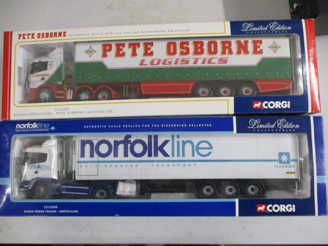 A pair of Corgi Toys Limited Edition trucks / lorrys to include :CC12207 Pete Osbourne Logistics LTD and CC12204 Norfolk Line  image