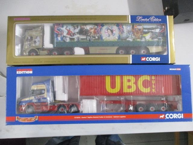 A pair of 1/50 scale Corgi Toys Limited Edition trucks / lorrys to include :CC12816 Bulmers Bulk Logistics and CC12104 The Queens Silver Jubilee  image