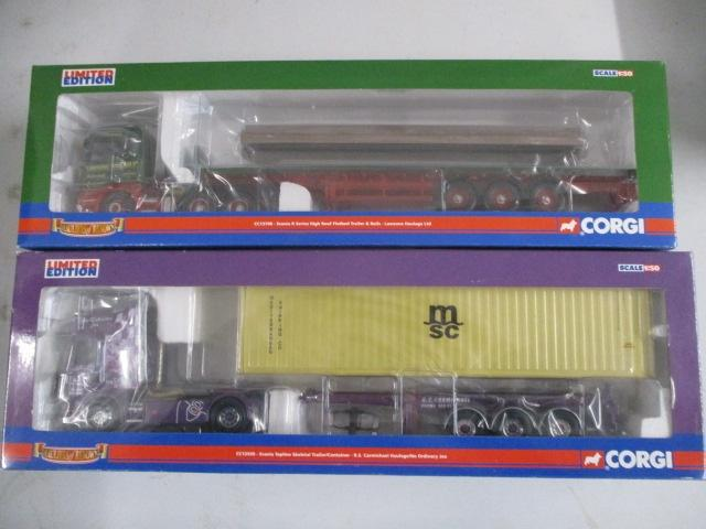 A pair of 1/50 scale Corgi Toys Limited Edition trucks / lorrys to include : CC13708 Lawsons Haulage and CC12930 R S Carmichael  image