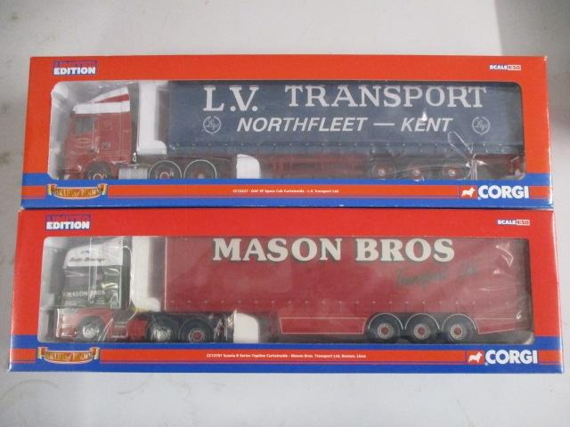 A pair of 1/50 scale Corgi Toys Limited Edition trucks / lorrys to include : CC13227 L V Transport and CC13701 Mason Bros  image