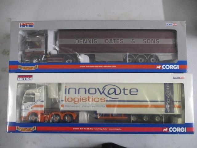 A pair of 1/50 scale Corgi Toys Limited Edition trucks / lorrys to include : CC12929 Dennis Oates & Sons and CC13414 Innovate Logistics  image