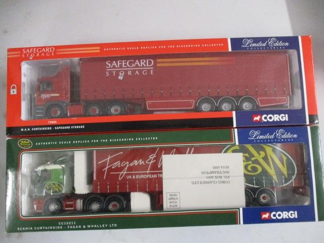 A pair of 1/50 scale Corgi Toys Limited Edition trucks / lorrys to include : 75805 Safegard Storage and CC13211 Fafan & Whalley LTD 50th anniversary  image