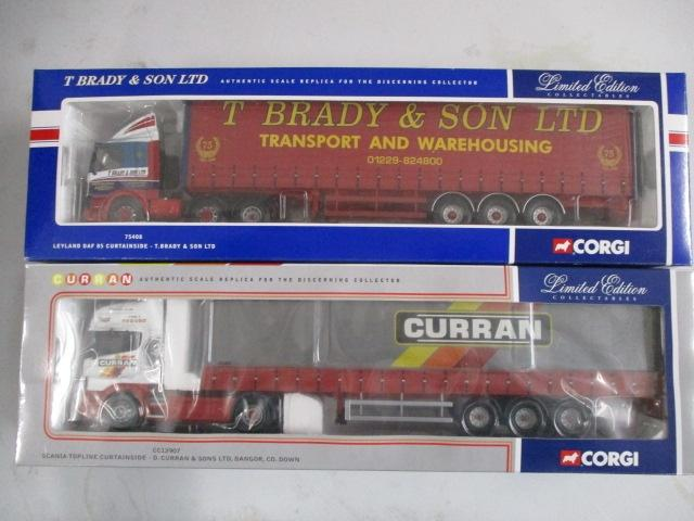 A pair of 1/50 scale Corgi Toys Limited Edition trucks / lorrys to include : 75408 T Brady& son LTD and CC12907 Curran  image