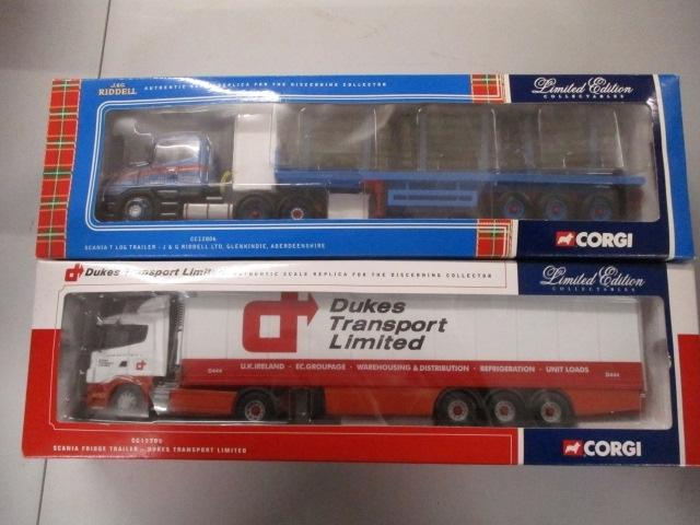 A pair of 1/50 scale  Corgi Toys Limited Edition trucks / lorrys to include : CC12806 J & G Ridell and CC12202 Dukes transport Ltd.  image