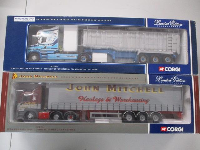 A pair of 1/50 scale  Corgi Toys Limited Edition trucks / lorrys to include : CC12805 Tinnelly international Ltd and CC12003 John Mitchell.  image