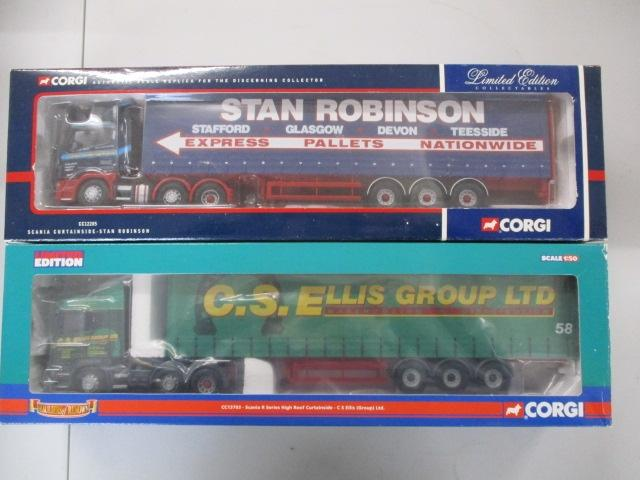 A pair of 1/50 scale  Corgi Toys Limited Edition trucks / lorrys to include : CC13703 CS Ellis Group Ltd and CC12205 Stan Robinson Group.  image