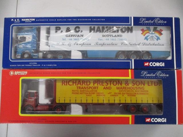 A pair of 1/50 scale  Corgi Toys Limited Edition trucks / lorrys to include : CC12505 R Preston & Sons Ltd and CC12906 P &C Hamilton.  image