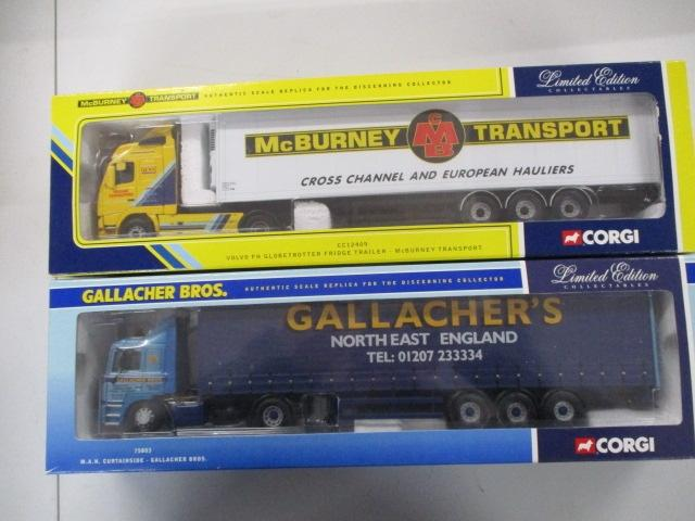 A pair of 1/50 scale  Corgi Toys Limited Edition trucks / lorrys to include : CC12409 Mcburney transport and 73803 Gallacher Bros.  image