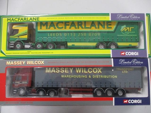 A pair of 1/50 scale  Corgi Toys Limited Edition trucks / lorrys to include : 75206 Massey Wilcox and 75602 Mcfarlane transport.  image