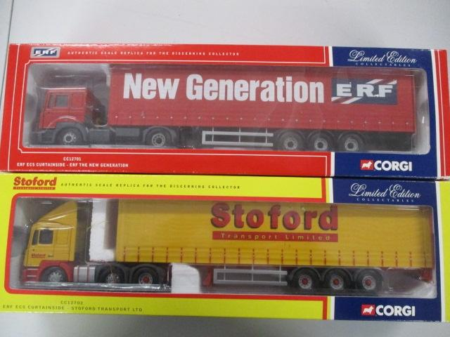 A pair of 1/50 scale  Corgi Toys Limited Edition trucks / lorrys to include : CC12701 ERF and CC12702 Stoford transport Ltd.  image