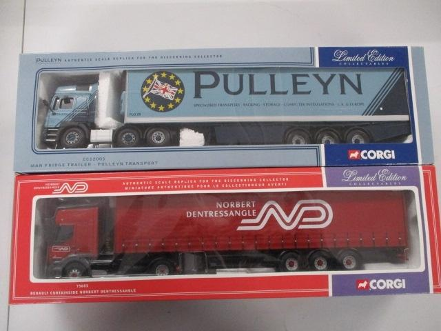 A pair of 1/50 scale  Corgi Toys Limited Edition trucks / lorrys to include : CC12005 Pulleyn and 75603 Norbert Dentressangle.  image